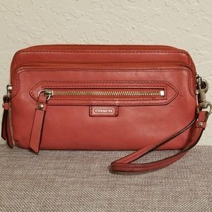 Coach  Pink leather wristlet w/ zip & front pocket